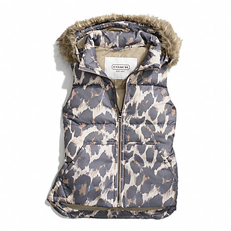 COACH HOODED ANIMAL PRINT PUFFER VEST -  - f83991