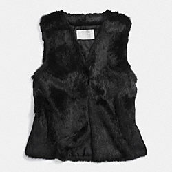 RABBIT FUR VEST - f83992 - BLACK