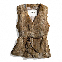 RABBIT FUR VEST - f83992 - NATURAL