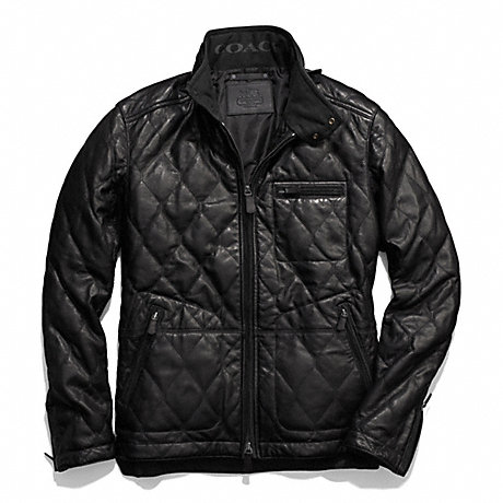 COACH BOWERY LEATHER QUILTED JACKET - BLACK - f84002