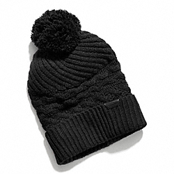 ARAN KNIT HAT - f84069 -  BLACK