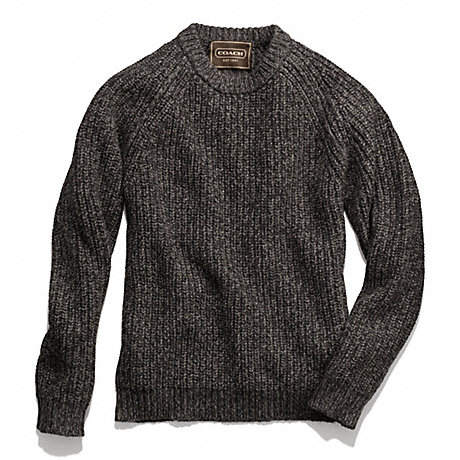 COACH MARLED CREWNECK SWEATER - CHARCOAL - f84089