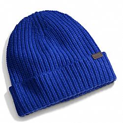 COACH CASHMERE SOLID KNIT HAT - COBALT - F84090