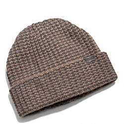 COACH CASHMERE STRIPED KNIT HAT - Vicuna - F84091