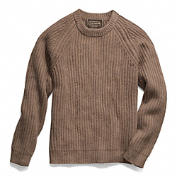 SOLID CREWNECK SWEATER - CAMEL - COACH F84092
