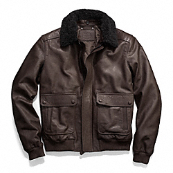 COACH BLEECKER LEATHER AVIATOR JACKET - ONE COLOR - F84100