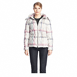COACH TATTERSALL SHORT PUFFER JACKET - ONE COLOR - F84104
