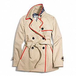 SHORT LEATHER TRIMMED TRENCH - KHAKI/HOT ORANGE - COACH F84237