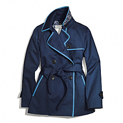 SHORT LEATHER TRIMMED TRENCH - f84237 - NAVY/PALE BLUE