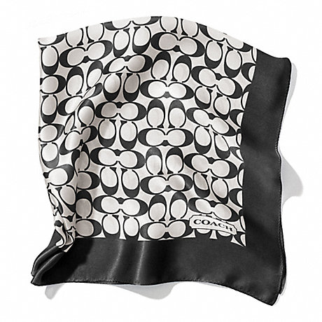 COACH f84270 SIGNATURE C 27X27 SCARF BLACK WHITE/BLACK