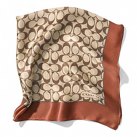COACH SIGNATURE C 27X27 SCARF - KHAKI/SADDLE - f84270