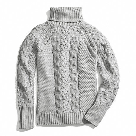 COACH HANDKNIT ARAN POLO NECK SWEATER -  - f84271