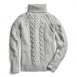 HANDKNIT ARAN POLO NECK SWEATER COACH F84271