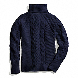 HANDKNIT ARAN POLO NECK SWEATER - NAVY - COACH F84271