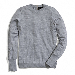 ZIP BACK FINE GAUGE CREWNECK SWEATER COACH F84273