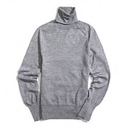 FINE GAUGE POLO NECK SWEATER - LIGHT GREY - COACH F84280