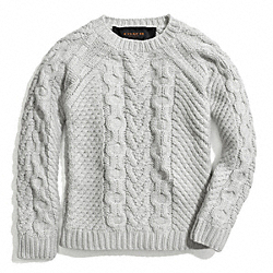 COACH HANDKNIT ARAN CREWNECK SWEATER - CEMENT - F84281