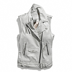 LEATHER MOTO VEST - GRAY - COACH F84284