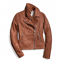 SLIM LEATHER MOTO JACKET - CAMEL - COACH F84295