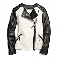 COACH COLORBLOCK COLLARLESS LEATHER JACKET - STONE/BLACK - F84301