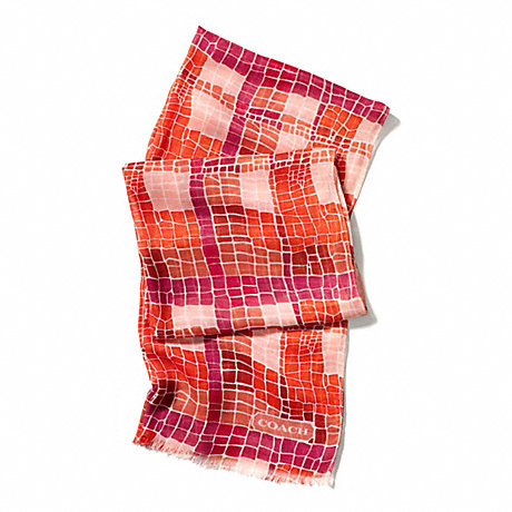COACH CROC PLAID OBLONG SCARF - LOVE RED - f84337