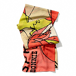 COACH BONNIE PROFILE OBLONG SCARF - CORAL - F84338