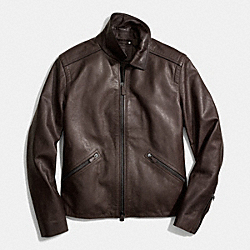 COACH YORK LEATHER JACKET - MAHOGANY - F84344