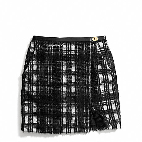 COACH BLACK AND WHITE PLAID SLOUCHY WRAP SKIRT -  - f84390
