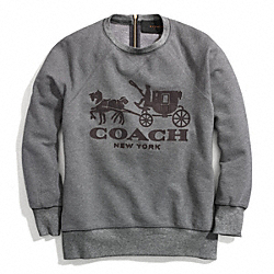HORSE AND CARRIAGE SWEATSHIRT WITH LEATHER - f84402 - BROWN