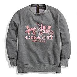 HORSE AND CARRIAGE SWEATSHIRT WITH LEATHER - DECO PINK - COACH F84402