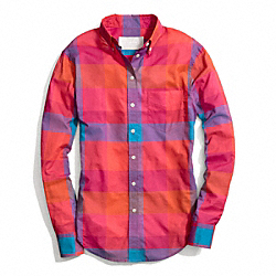 COACH COTTON VOILE BOY SHIRT - VERMILLION - F84409