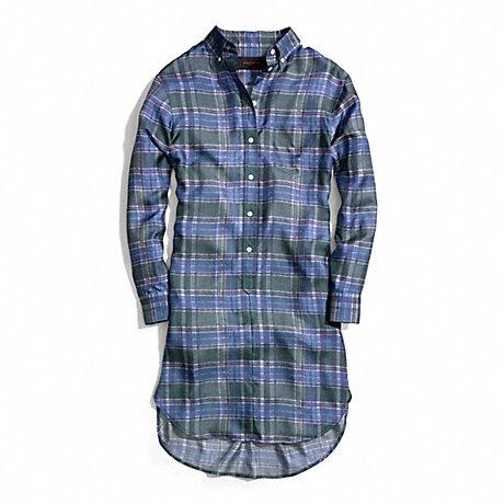 COACH SILK SHIRT DRESS - GREEN - f84414