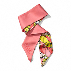 COACH BONNIE PROFILE PONYTAIL SCARF - CORAL - F84424