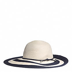 COACH STRIPED CITY STRAW FLOPPY HAT - NATURAL/NAVY - F84543