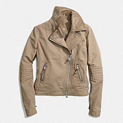 COACH SLIM MIXED MATERIAL MOTO JACKET - PUTTY - F84565