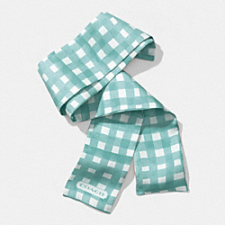 GINGHAM PONYTAIL SCARF - DUCK EGG BLUE - COACH F84582