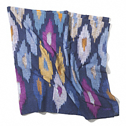 COACH IKAT OVERSIZED SQUARE SCARF - BLUE INDIGO MULTI - F84584