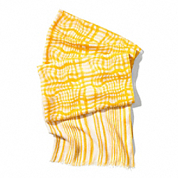 WAVY GINGHAM OBLONG SCARF - SUNGLOW - COACH F84609