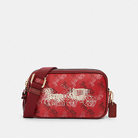 COACH CROSSBODY POUCH WITH HORSE AND CARRIAGE PRINT - IM/BRIGHT RED/CHERRY MULTI - F84639