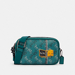 CROSSBODY POUCH WITH HORSE AND CARRIAGE PRINT - QB/VIRIDIAN SAGE MULTI - COACH F84639