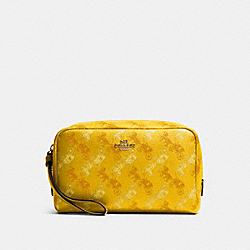 BOXY COSMETIC CASE WITH HORSE AND CARRIAGE PRINT - SV/YELLOW MULTI - COACH F84642