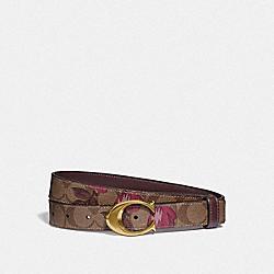 SIGNATURE BUCKLE BELT WITH VICTORIAN FLORAL PRINT, 25MM - IM/KHAKI DARK FUCHSIA - COACH F84668