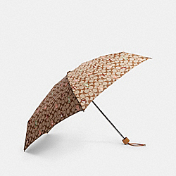 MINI UMBRELLA IN SIGNATURE PARTY ANIMALS PRINT - KHAKI/PINK - COACH F84674