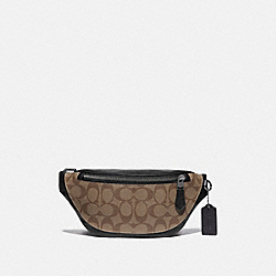 WARREN MINI BELT BAG IN SIGNATURE CANVAS - QB/TAN - COACH F84711