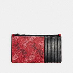 ZIP CARD CASE WITH HORSE AND CARRIAGE PRINT - QB/BRIGHT RED - COACH F84740