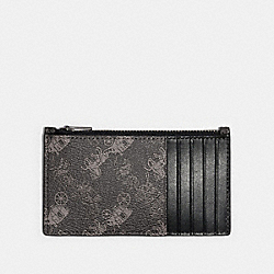 ZIP CARD CASE WITH HORSE AND CARRIAGE PRINT - QB/BLACK MULTI - COACH F84740