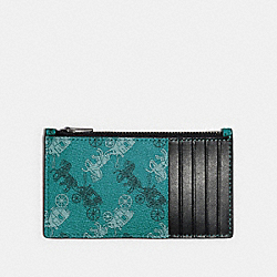 ZIP CARD CASE WITH HORSE AND CARRIAGE PRINT - QB/VIRIDIAN - COACH F84740