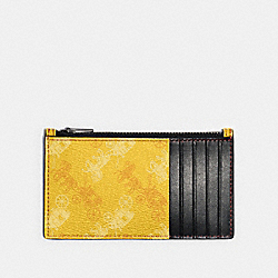ZIP CARD CASE WITH HORSE AND CARRIAGE PRINT - QB/YELLOW - COACH F84740