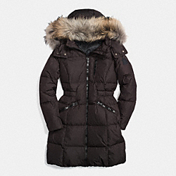 COACH SOLID LONG DOWN COAT WITH FUR - CHOCOLATE - F84769