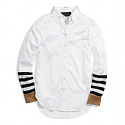 COTTON JERSEY STRIPE SLEEVE BOY SHIRT - WHITE - COACH F84771